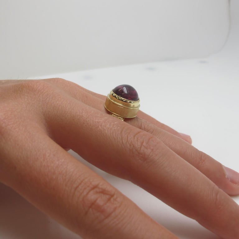 Artisan Rubellite Tourmaline and Diamond Ring For Sale