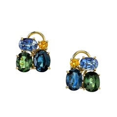 Multi-Color Sapphire Earclips 18 Karat Yellow Gold
