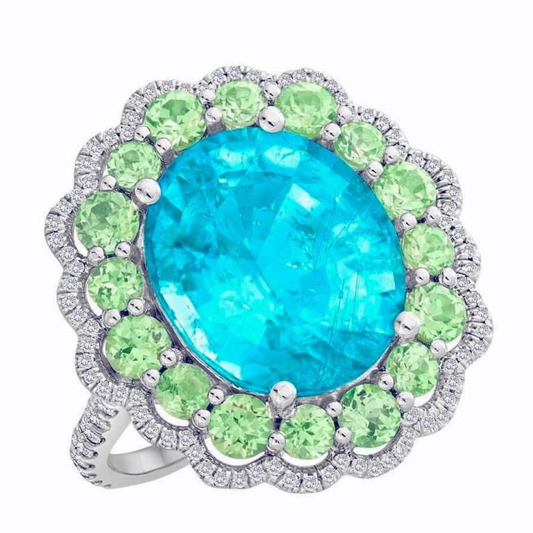 Exceptional Paraiba Tourmaline, Green Garnet, Diamond Ring in Platinum and Gold