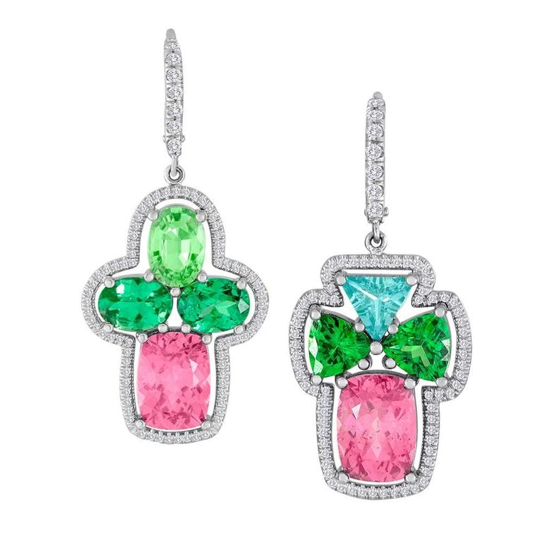 Mismatch Green Garnet Imperial Diamond Earrings In 18 Karat Gold For