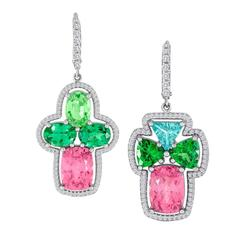 Mismatch Green Garnet, Imperial Garnet, Diamond Earrings in 18 Karat Gold