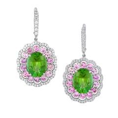 Green Tourmaline Purple Sapphire Diamond Earrings