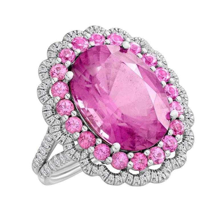 Unique Copper Bearing Pink Tourmaline Pink Spinel Diamond