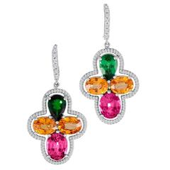 Exquisite, 18 Karat Gold Earrings with Pink Spinels, Garnets with Diamond Accent