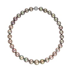 Important Black South Sea Pearl Necklace with Diamond Ball Clasp