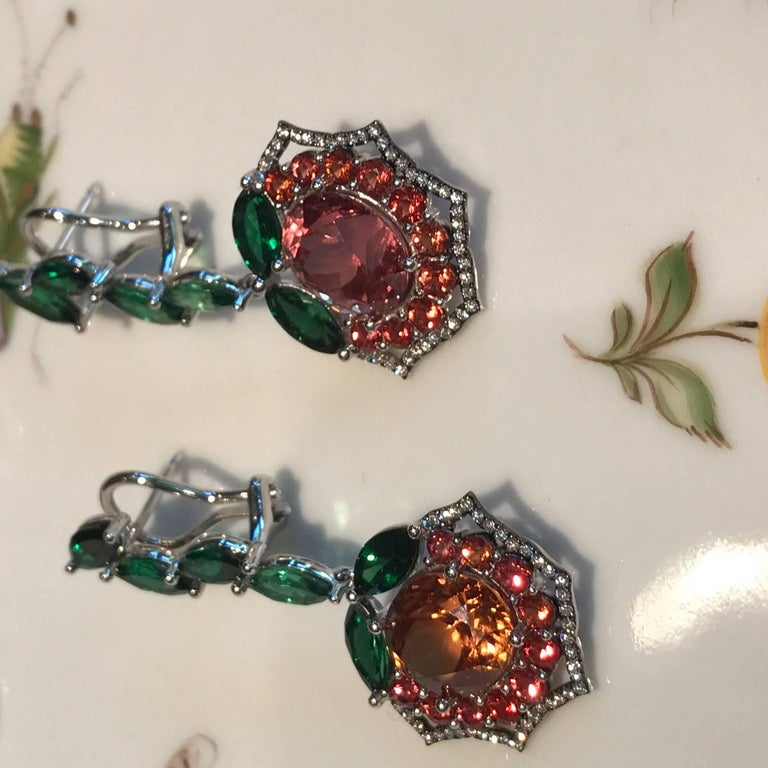 Contemporary Malaya Garnet  Tsavorite and Orange Sapphire Earrings For Sale