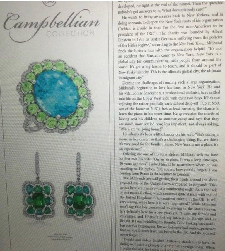 Bespoke Tsavorite Paraiba Tourmaline Diamond Earrings For