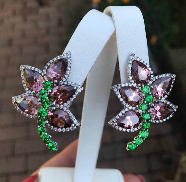 Unique Blush Zircons Tsavorite Diamond Gold Earrings For