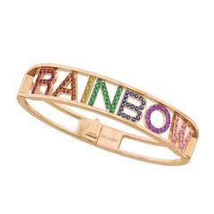 Only You Rainbow Multi-gemstone Rose Gold Bracelet Bangle
