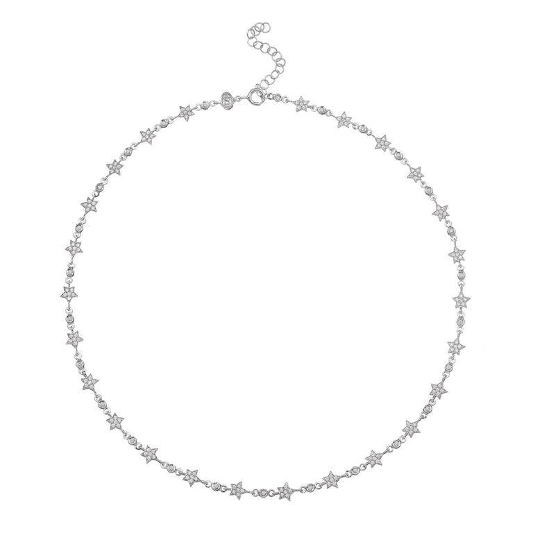 18 Carat White Gold White Diamonds Star Chain Stella Necklace