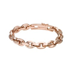 18 Carat Solid Rose Gold Manette Chain Bracelet
