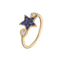 18 Carat Gold White Blue Sapphire Star Cocktail Ring
