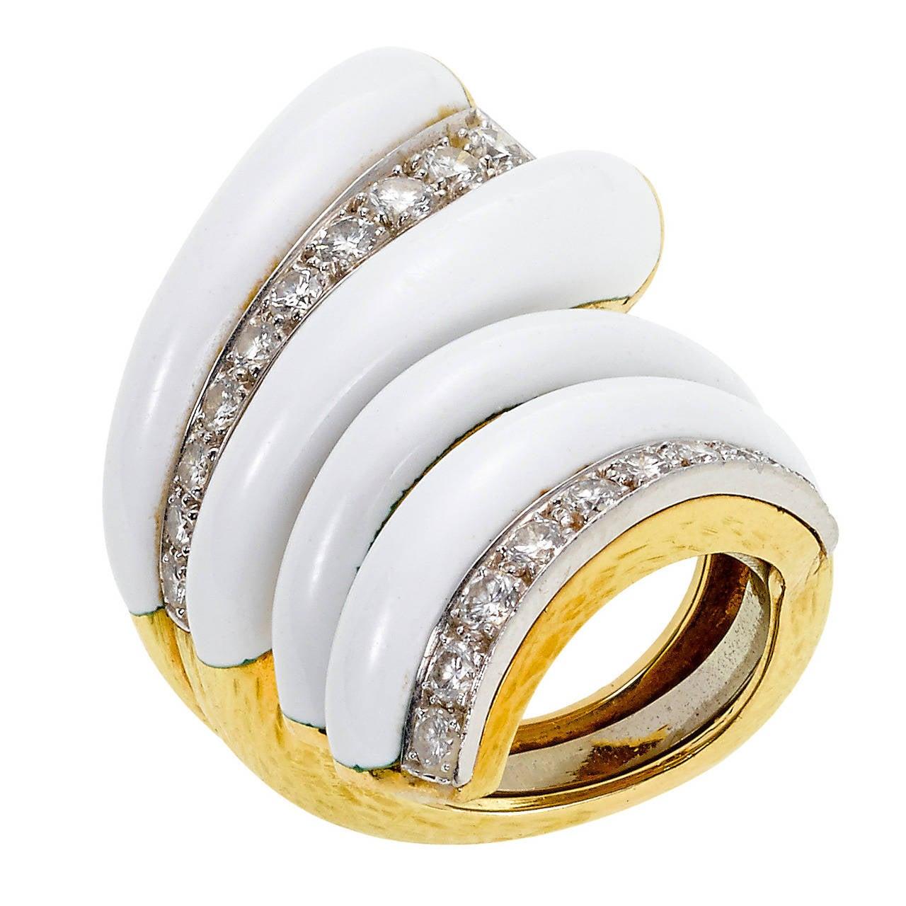 david webb enamel gold cocktail ring at 1stdibs