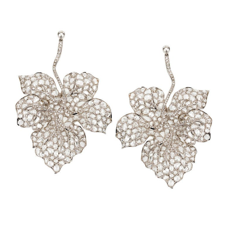 Rose Cut Diamond Hanging Leaf Earrings 1