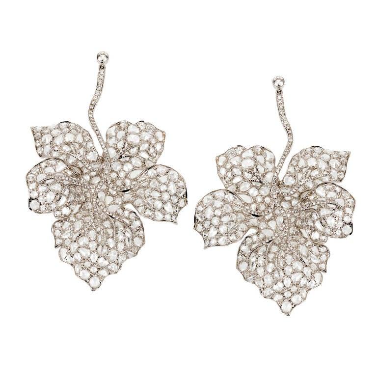 Rose Cut Diamond Hanging Leaf Earrings For Sale