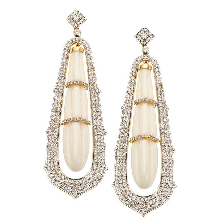Carved White Coral and Diamond Drop Earrings