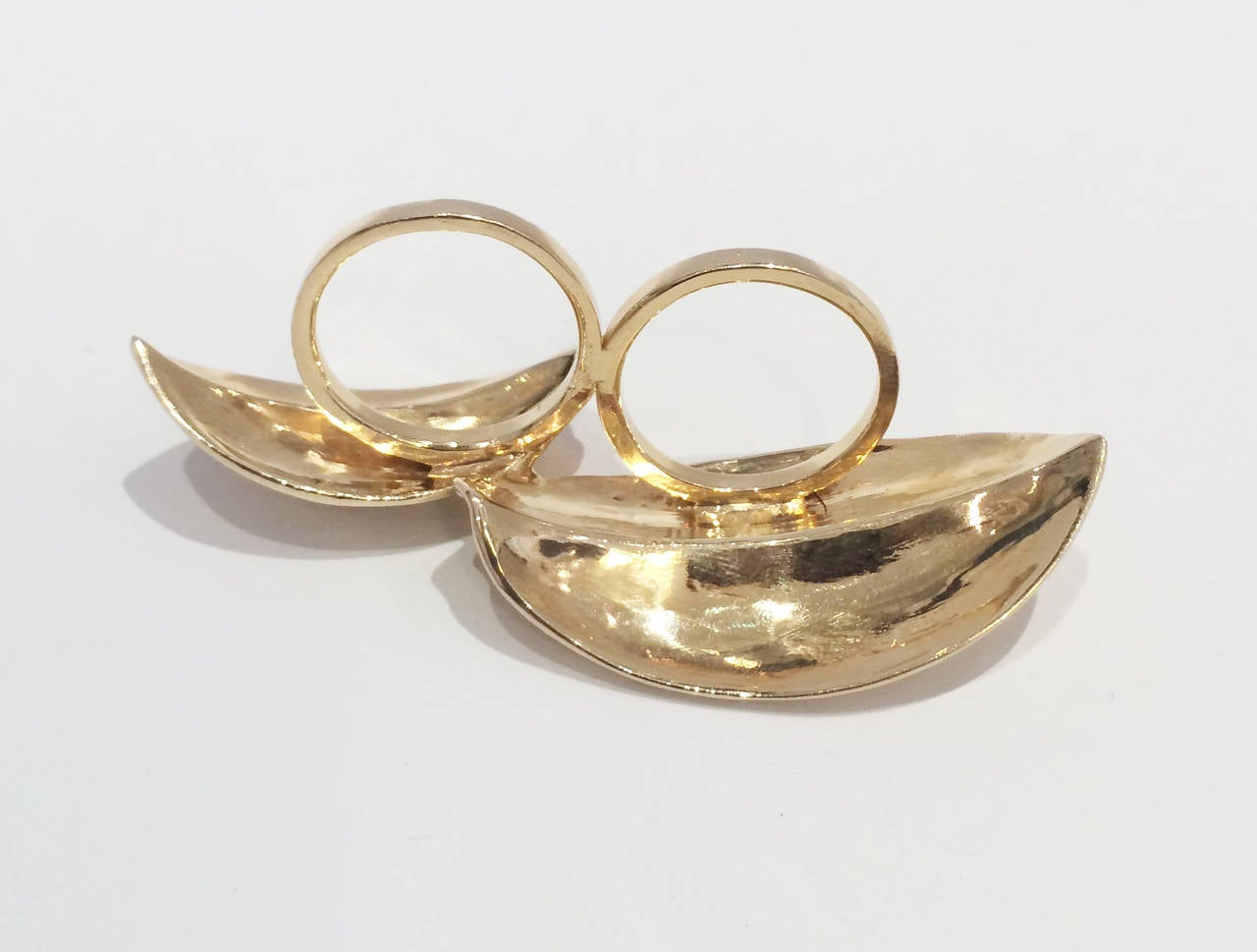 gold two finger leaf ring at 1stdibs