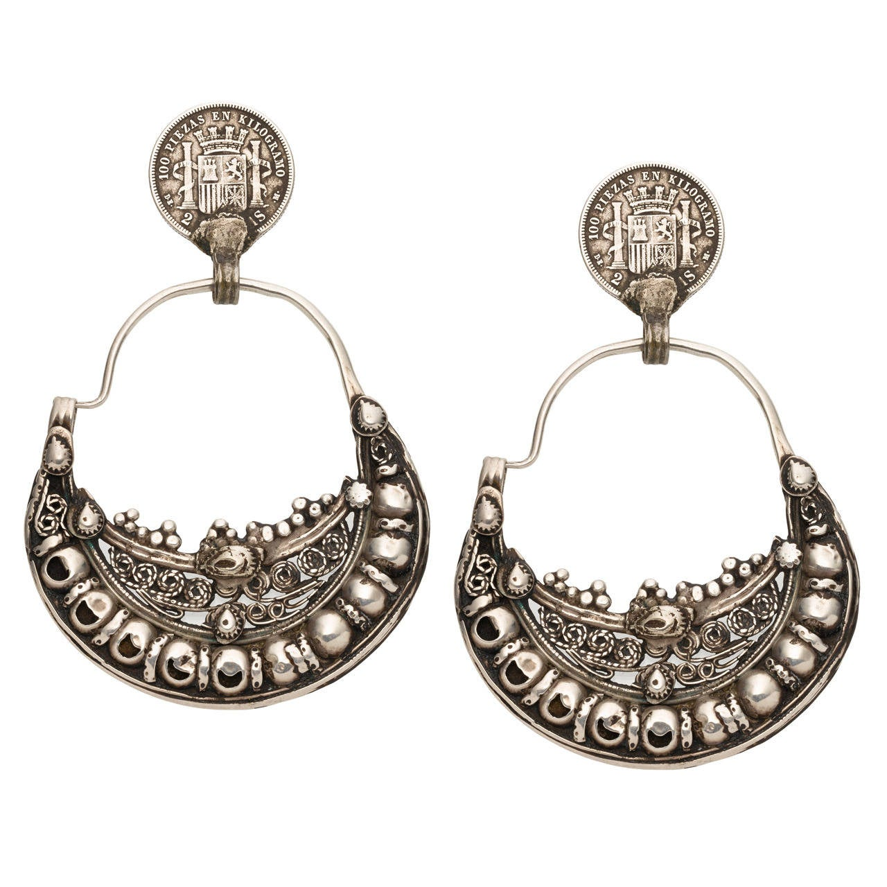 Sterling Silver Moroccan Earrings For Sale