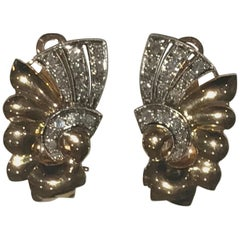 Art Deco Diamond and 18 Karat Gold Earrings