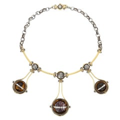 Elie Top Collier 3 Spheres Or et Diamants