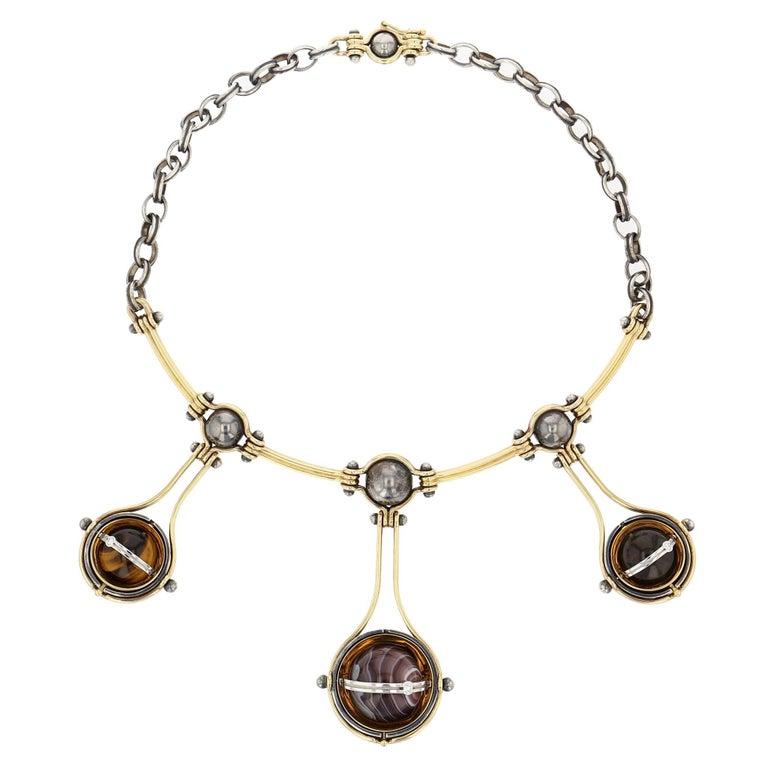 Elie Top Collier 3 Spheres Or et Diamants For Sale