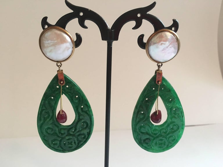 Carved Jade Ruby Drop Mabè Pearls Gold Ventiane Earrings For Sale 1