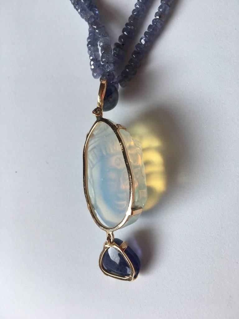 Opal Tanzanite Gold Blu  Buddha Necklace 2