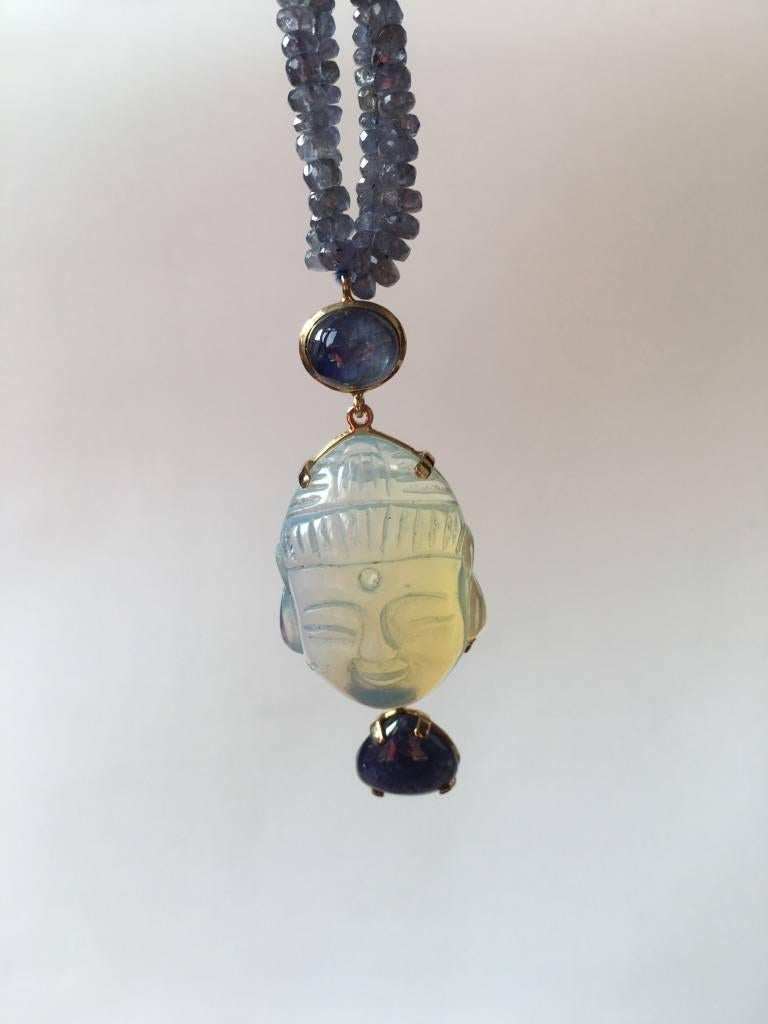 Opal Tanzanite Gold Blu  Buddha Necklace 3