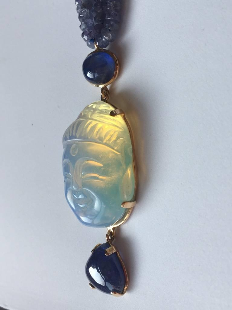 Opal Tanzanite Gold Blu  Buddha Necklace 5