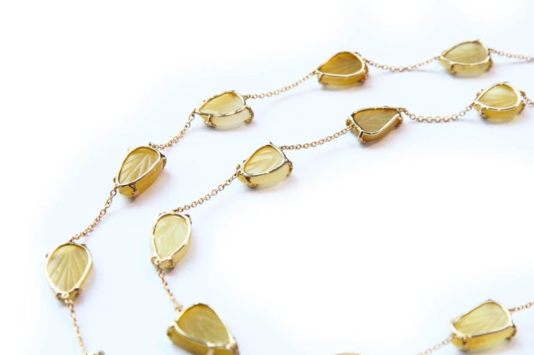 Aesthetic Movement Opal Gold Oriental Leaf Necklace For Sale