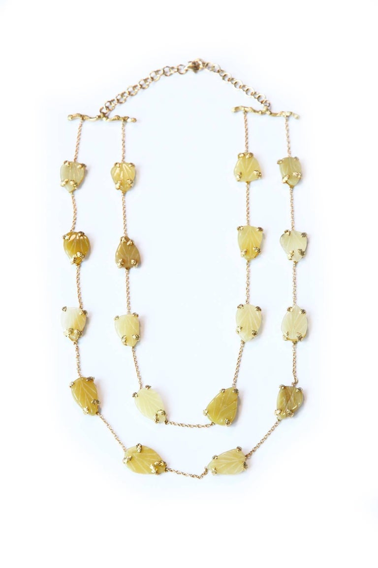 Women's Opal Gold Oriental Leaf Necklace For Sale