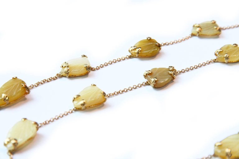 Opal Gold Oriental Leaf Necklace For Sale 1