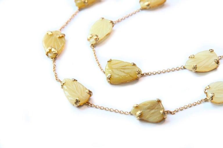 Opal Gold Oriental Leaf Necklace For Sale 2