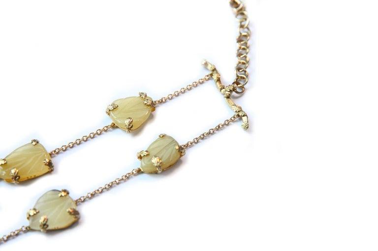 Opal Gold Oriental Leaf Necklace For Sale 3