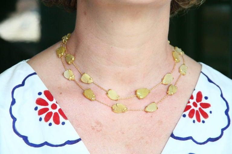 Opal Gold Oriental Leaf Necklace For Sale 4