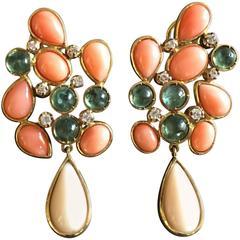 Sciacca Peaux A'Ange Coral Diamonds Tourmaline Fruit Salad Earrings