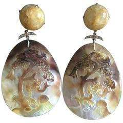 Carved Mother-of-Pearl Diamond Quartz White Gold Cherry Tree Earrings