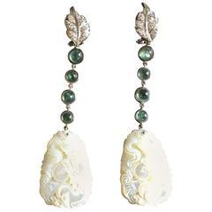 Tourmaline Diamonds White Gold White Dragon Earrings