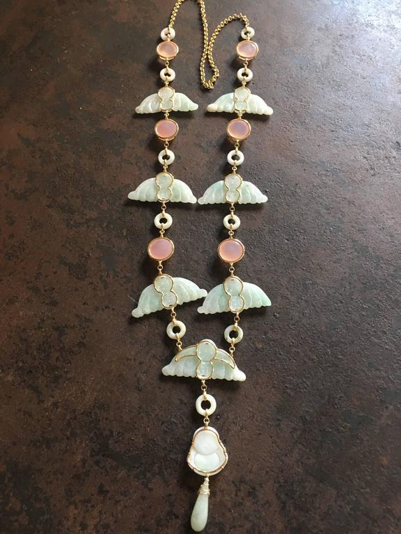 Women's  Carved Antiques Jade Rose Quartz Gold Alessandretta Necklace For Sale