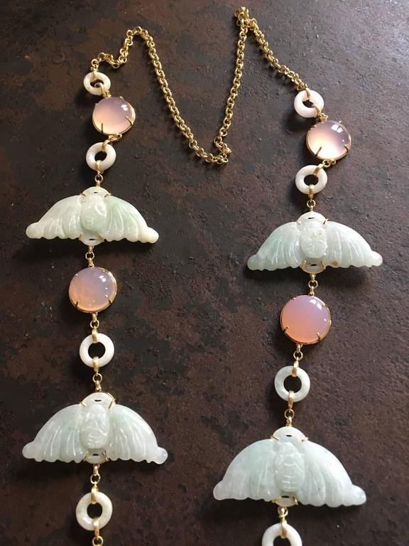 Carved Antiques Jade Rose Quartz Gold Alessandretta Necklace In As New Condition For Sale In Milan, IT