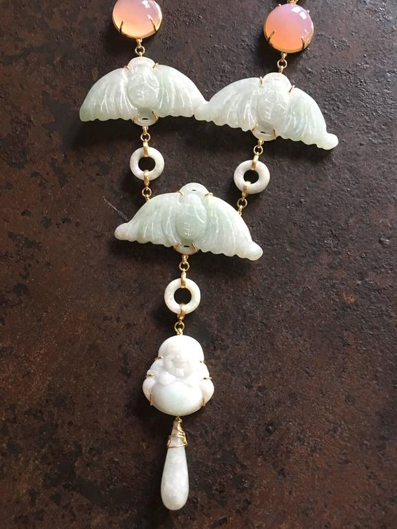 Long necklace total length 47cm cabochon rose quartz antiques carved jade with bat shape, little carved  buddha,  jade  drop. Gold. All Giulia Colussi jewelry is new and has never been previously owned or worn. Each item will arrive at your door