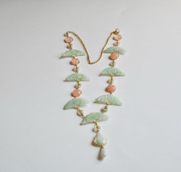 Artist Carved Antiques Jade Rose Quartz Gold Alessandretta Necklace For Sale
