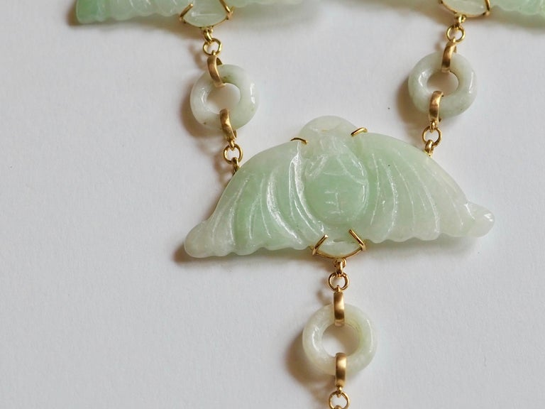 Carved Antiques Jade Rose Quartz Gold Alessandretta Necklace In New Condition For Sale In Milan, IT
