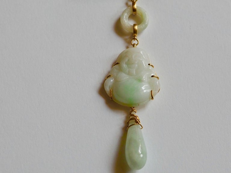 Women's Carved Antiques Jade Rose Quartz Gold Alessandretta Necklace For Sale