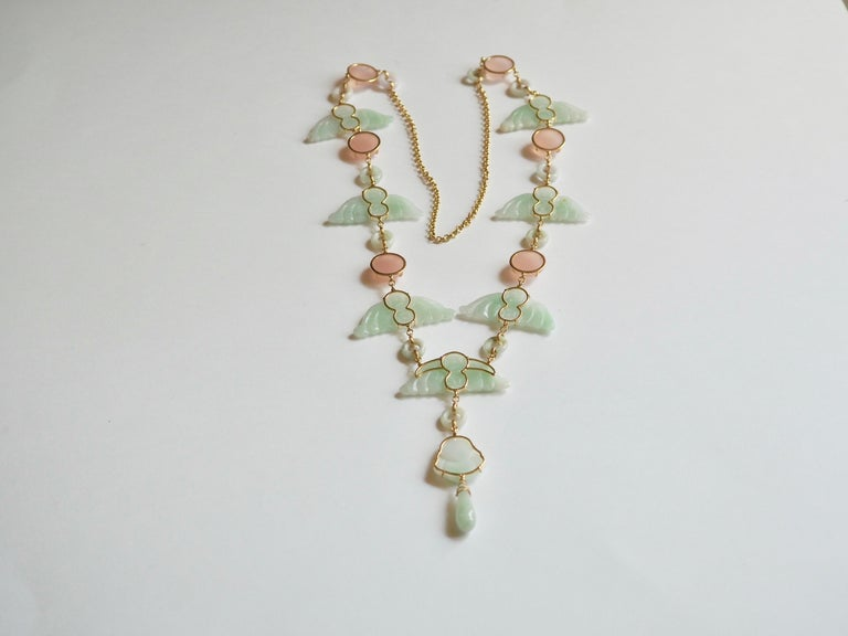 Carved Antiques Jade Rose Quartz Gold Alessandretta Necklace For Sale 1