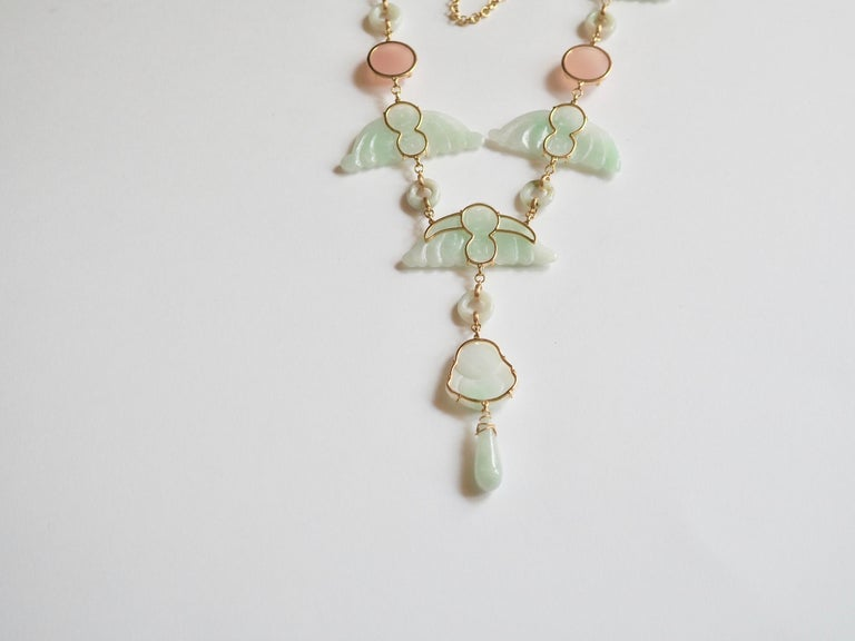 Carved Antiques Jade Rose Quartz Gold Alessandretta Necklace For Sale 2