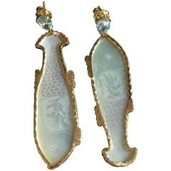 Fish and Fiches Earrings Sapphire Drop Carved Mother-of-Pearl Gold