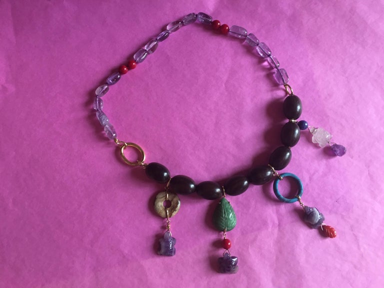 Ebony Charms Forever Necklace Amethyst Coral Ebony Gold and Pendants 2