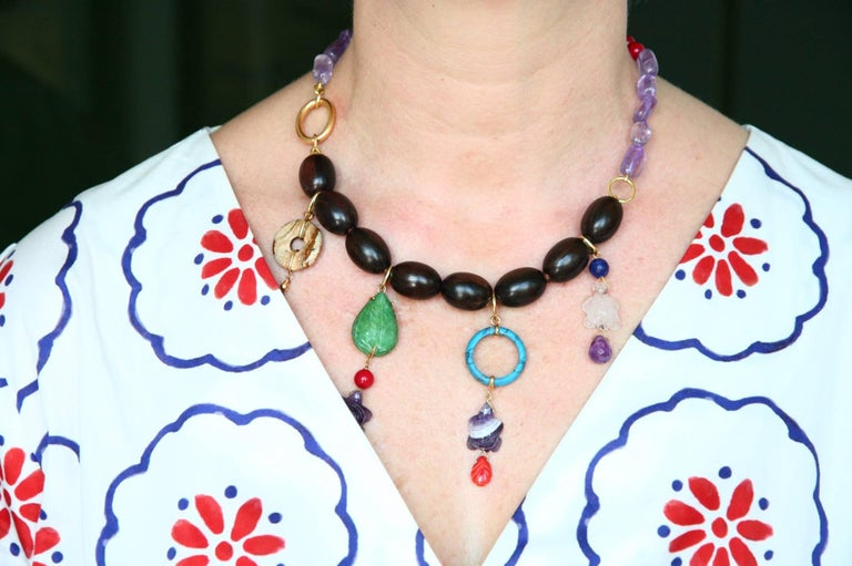Ebony Charms Necklace Amethyst Coral Ebony Gold For Sale 1