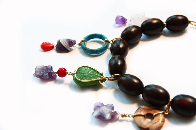 Women's Ebony Charms Necklace Amethyst Coral Ebony Gold For Sale